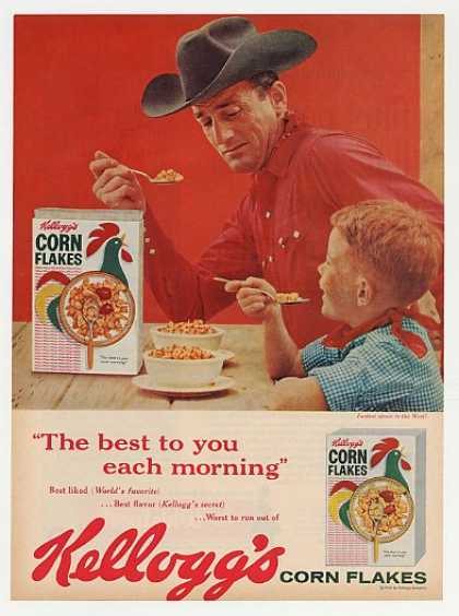 Kellogg's Corn Flakes Cowboy and Boy Photo (1960)