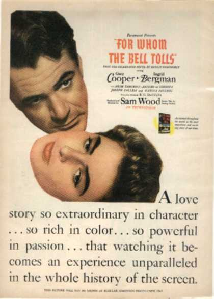 For Whom The Bell Tolls (Gary Cooper and Ingrid Bergman) (1943)