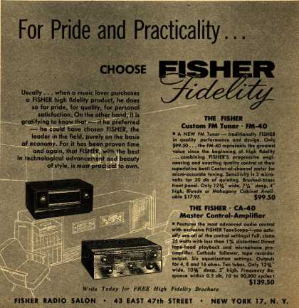 Fisher's Radio – For Pride and Practicality Choose Fisher Fidelity (1956)