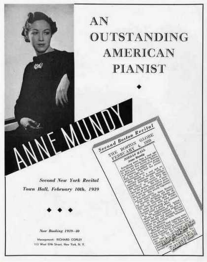Anne Mundy Photo American Pianist Trade (1939)