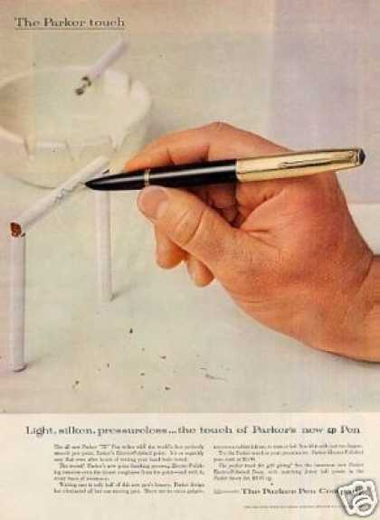 "Parker Pen Ad ""Light, Silken, Pressureless... (1955)"