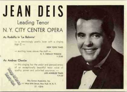 Jean Deis Photo Tenor Opera (1963)