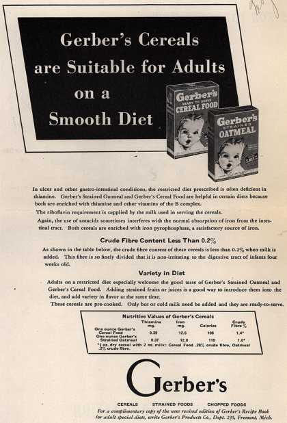 Gerber Products Company's Gerber Cereal Food and Strained Oatmeal – Gerber's Cereals are Suitable for Adults on a Smooth Diet (1944)