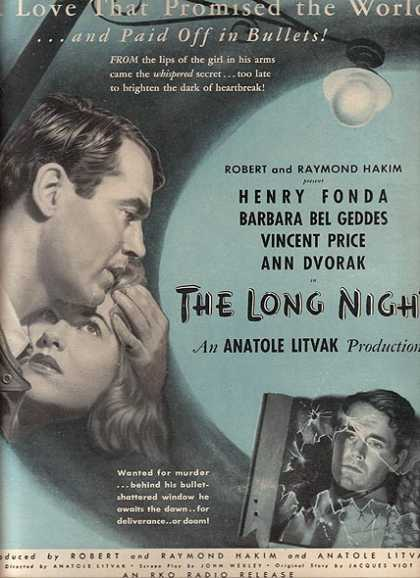 The Long Night (Henry Fonda, Barbara Bel Geddes, Vincent Price and Ann Dvorak) (1947)