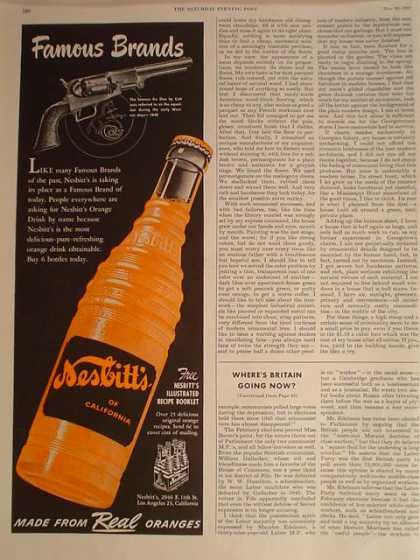 Nesbitts Orange Soda and Colt Hand Guns 1/2 pg (1950)