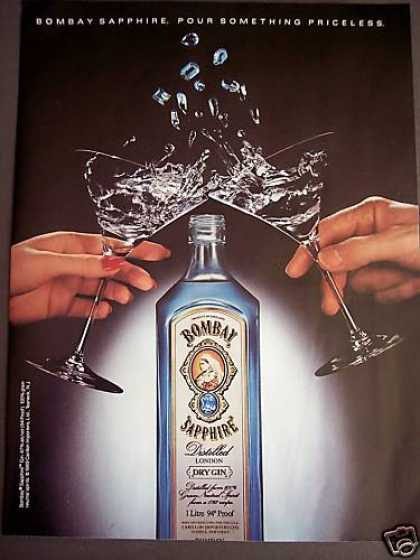 Bombay Sapphire Dry Gin Bottle Photo (1989)