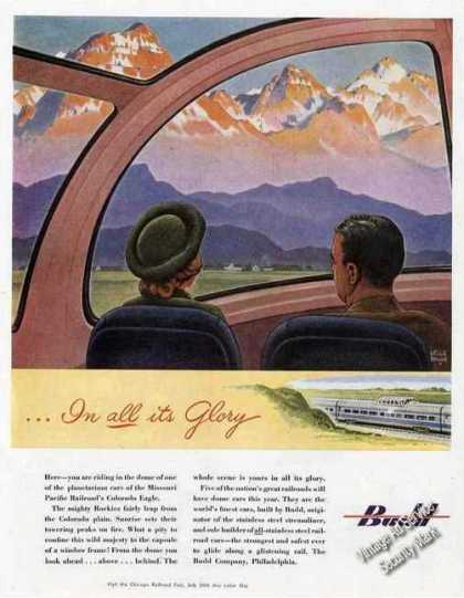"""Budd Vista Dome""""In All Its Glory"""" Rr (1948)"""