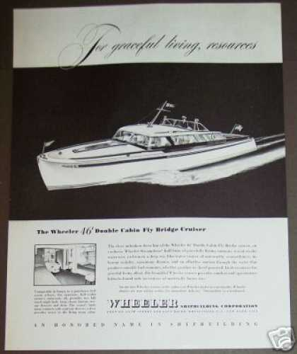 Wheeler 46' Fly Bridge Cruiser Boat Yacht Art (1946)