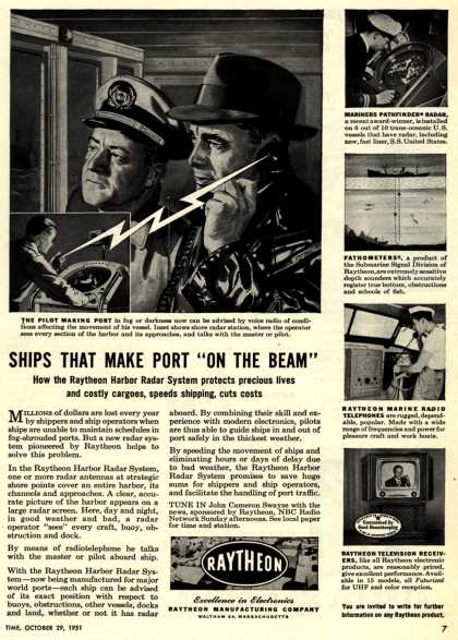 "Raytheon Manufacturing Company's Raytheon Harbor Radar System – Ships That Make Port ""On The Beam"" (1951)"