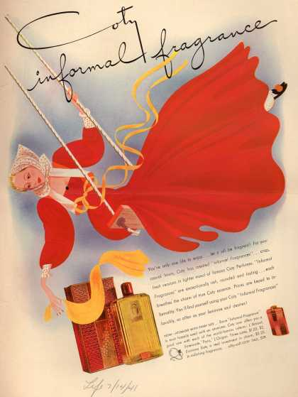 "Coty's ""Informal Fragrances"" – Coty informal fragrance (1941)"