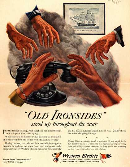"Western Electric's Telephone – ""Old Ironsides"" stood up throughout the war (1945)"