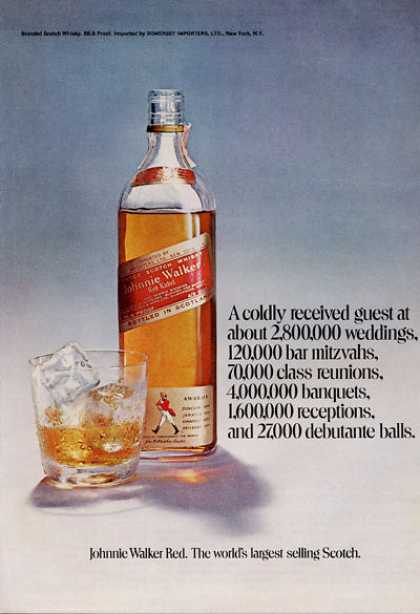 Johnnie Walker Red Scotch Whisky Bottle (1971)