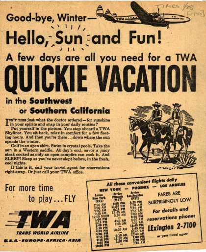 Trans World Airline's Southwest or Southern California – Good-bye Winter- Hello, Sun and Fun (1948)