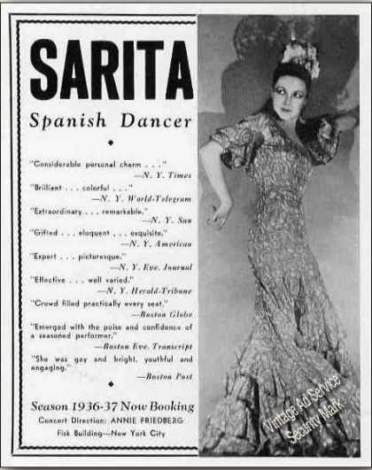 Sarita Photo Spanish Dancer Collectible Booking (1936)