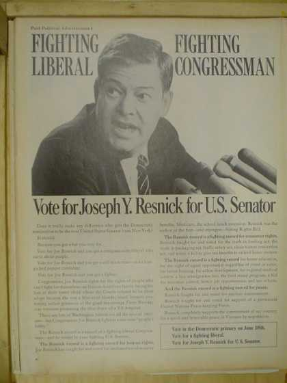 Joseph Y. Resnick for US senator. Fighting liberal. Fighting congressman (1968)