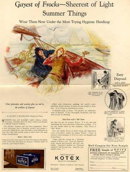 Kotex Company's Sanitary Napkins – Gayest of Frocks- Sheerest of Light Summer Things (1927)
