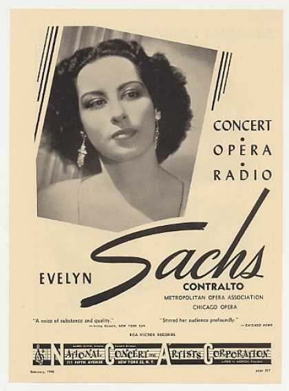 Met Opera Contralto Evelyn Sachs Photo Booking (1948)