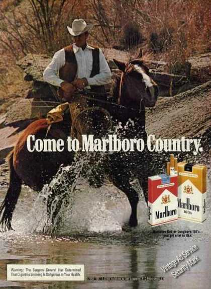 Marlboro Cowboy Riding Horse Thru Stream (1978)