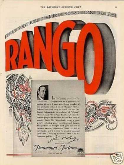"Paramount Pictures Color Ad ""Rango"" (1931)"