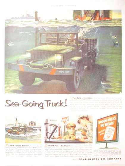 Conoco Continental Oil Co War theme Sea Going truck (1952)