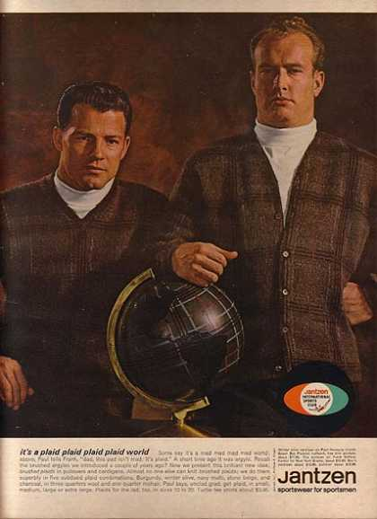 Jantzen's Brushed Plaid Pullover and Cardigan Sweaters (1963)