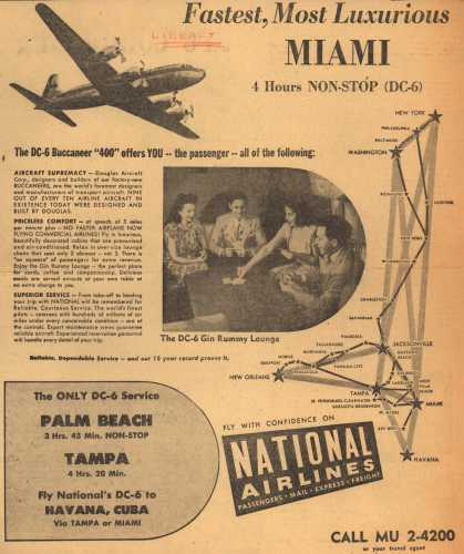 National Airline's Miami Service – Fastest, Most Luxurious MIAMI (1948)