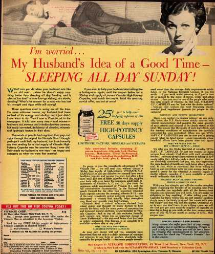 Vitasafe Corporation's Vitasafe C. F. Capsules – I'm worried... My Husband's Idea of a Good Time – Sleeping All Day Sunday (1958)