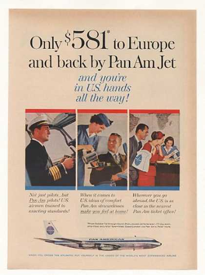 Pan Am Airlines Jet to Europe Pilot Stewardess (1960)