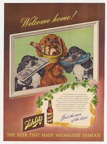 Cocker Spaniels Welcome You Home Schlitz Beer (1947)