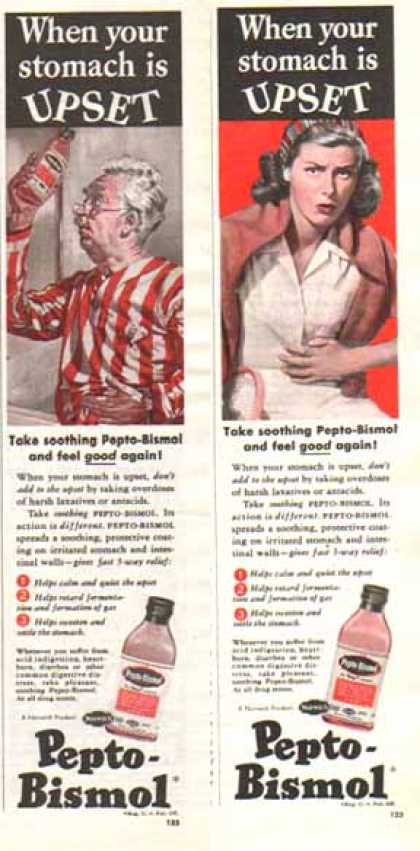 Pepto-Bismol Ads – Set of Two – When Your Stomach is UPSET (1948)