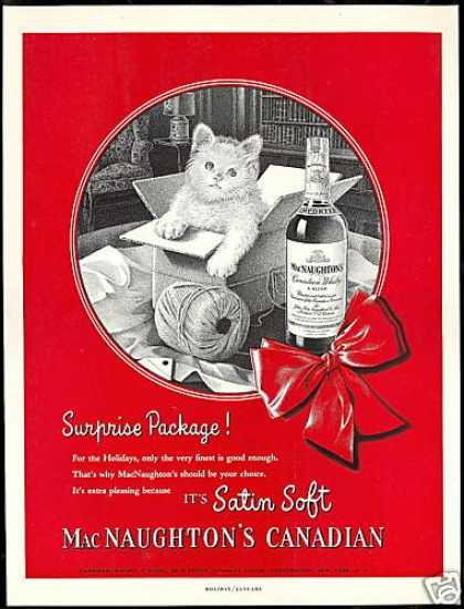 Cute Kitten Cat MacNaughton's Canadian Whisky (1952)