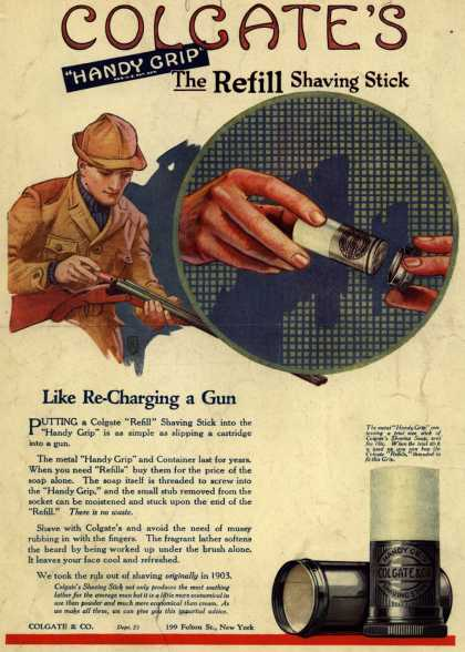 "Colgate & Company's Colgate's Handy Grip – Colgate's ""Handy Grip"" The Refill Shaving Stick (1921)"