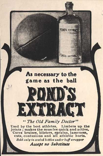 Pond&#8217;s Extract Co.&#8217;s Pond&#8217;s Extract &#8211; As necessary to the game as the ball. Pond&#8217;s Extract (1904)
