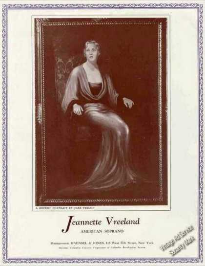 Jeannette Vreeland Photo Soprano Booking (1936)