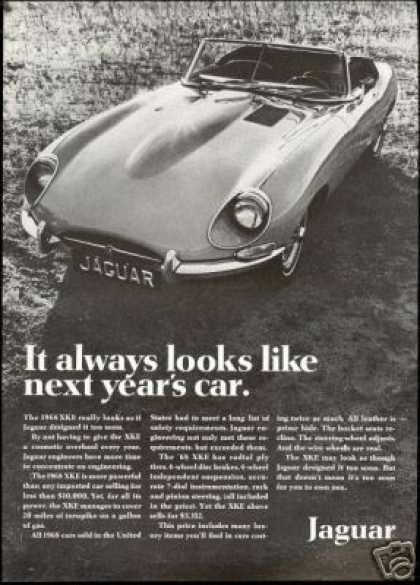 Jaguar XK-E XKE Convertible Car Vintage Photo (1968)