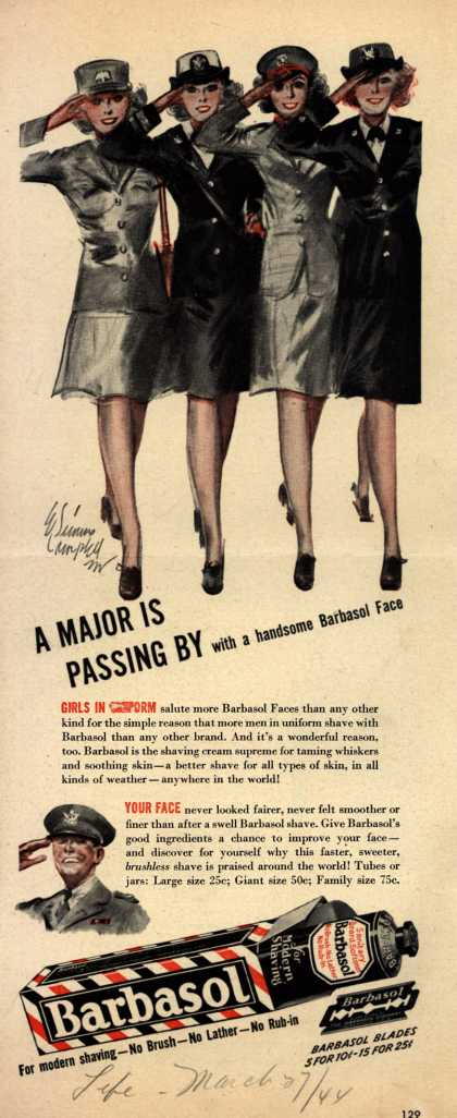 Barbasol – A Major Is Passing By with a handsome Barbasol Face (1944)