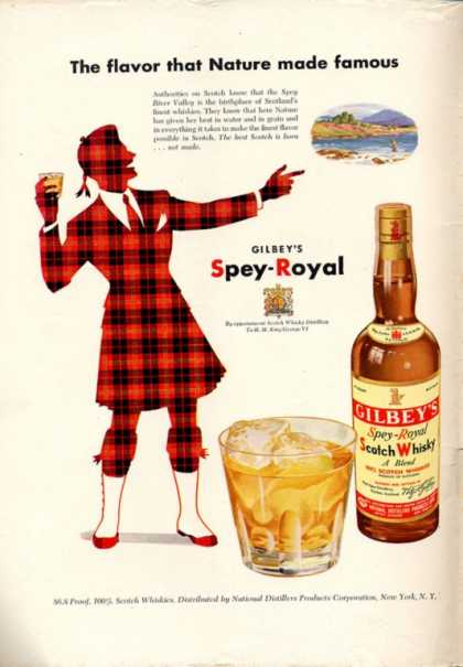 Gilbey's Spey-royal Scotch Whisky (1951)