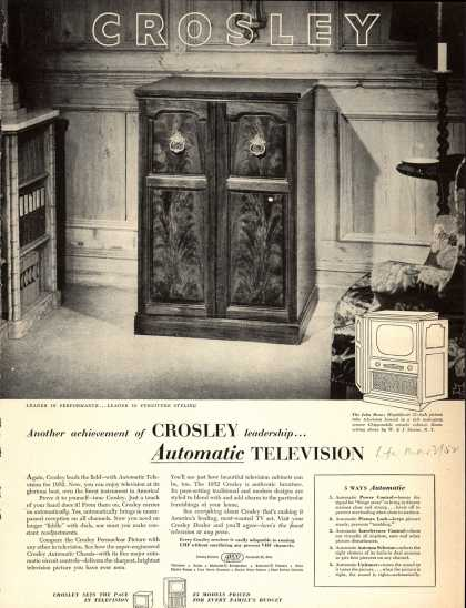 Avco Manufacturing Corporation's Automatic Television – Another achievement of Crosley leadership... Automatic Television (1952)