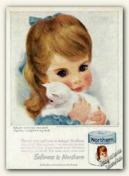 Beautiful Young Girl & Kitten Art Northern (1961)