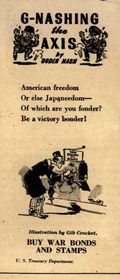 U. S. Treasury Dept.'s War Bonds – G-Nashing the Axis (1943)