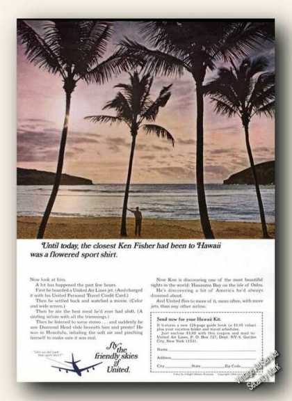 United Air Lines Beautiful Hawaii Photo (1966)
