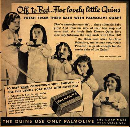 Palmolive Company's Palmolive Soap – Off to Bed...Five lovely little Quins (1939)
