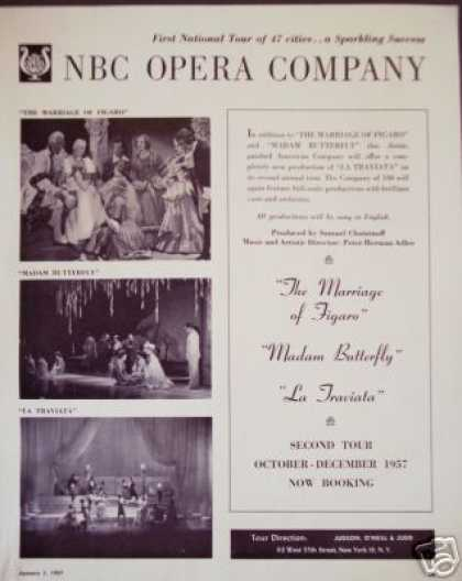 Nbc Opera Company Madam Butterfly,tour Booking (1957)