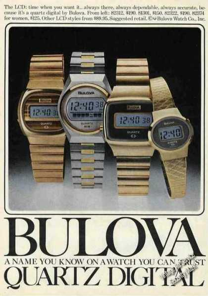 Bulova Quartz Digital Watches Color (1977)