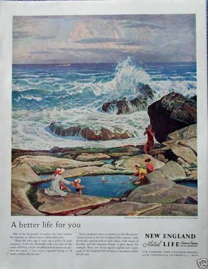 New England Life Family Sea Coast Rocks Sailboat (1958)