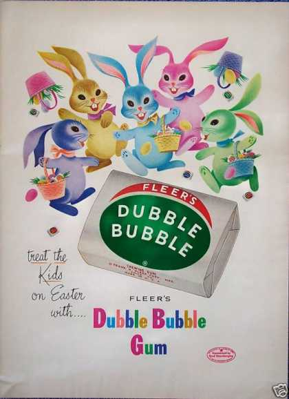 Fleers Dubble Bubble Gum Easter Rabbit Bunny Color (1953)
