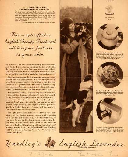 Yardley & Co., Ltd.'s English Lavender – This simple, effective English Beauty Treatment will bring new freshness to your skin (1930)