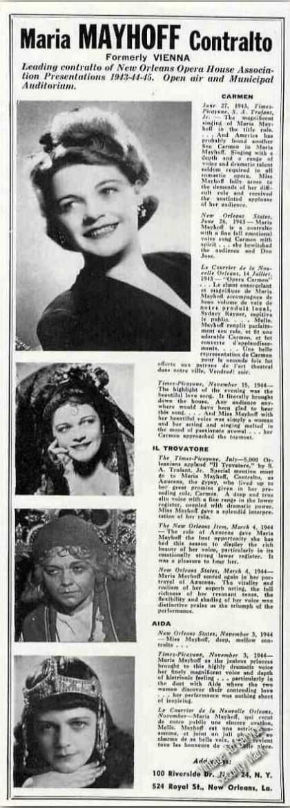 Maria Mayhoff Contralto Ad New Orleans Opera (1945)