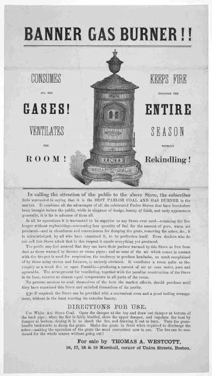 Banner gas burner!! Consumes all the gases! Ventilates the room. Keeps fire through the entire season without rekindling ... For sale by Thomas A. Wes (1861)