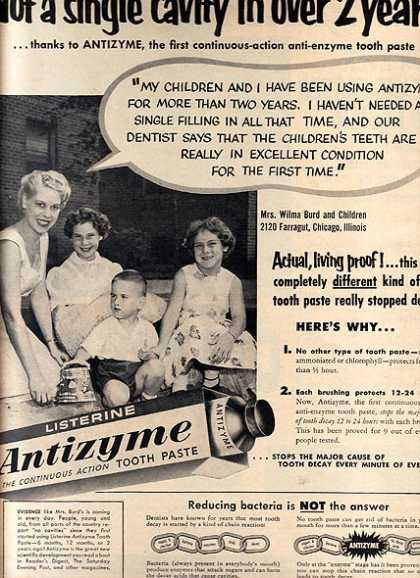 Listerine's Antizyme Tooth Paste (1955)
